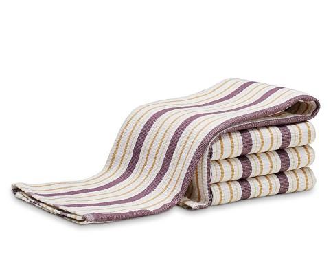 Williams-Sonoma Contrast Stripe Towels, Set of 4, Plum