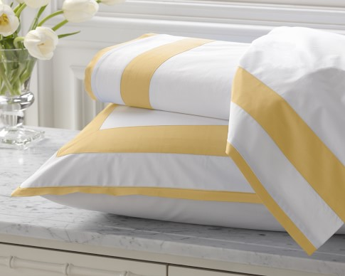 Percale Border Bedding, Cases, Pair, Standard, Butter
