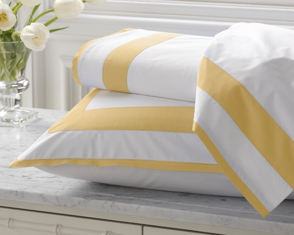 Percale Border Bedding, Cases, Pair, King, Butter