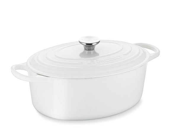 Le Creuset Signature Cast-Iron Oval Dutch Oven, White, 6 3/4-Qt.