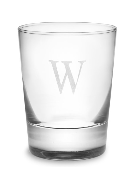 Monogrammed Double Old-Fashioned Glasses, Single-Initial, Set of 4