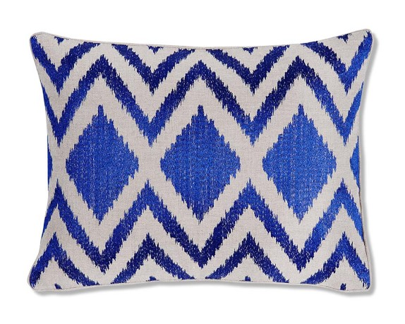 Ikat Diamond Zig Zag Embroidered Pillow Cover, 12