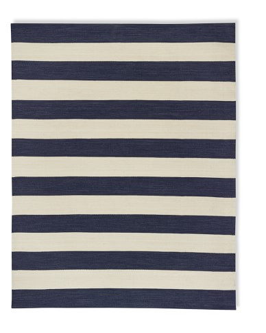 Patio Stripe Indoor/Outdoor Rug, 6' X 9', Dress Blue / Egret