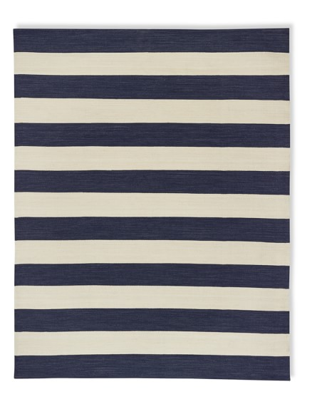 Patio Stripe Indoor/Outdoor Rug, 9' X 12', Dress Blue / Egret