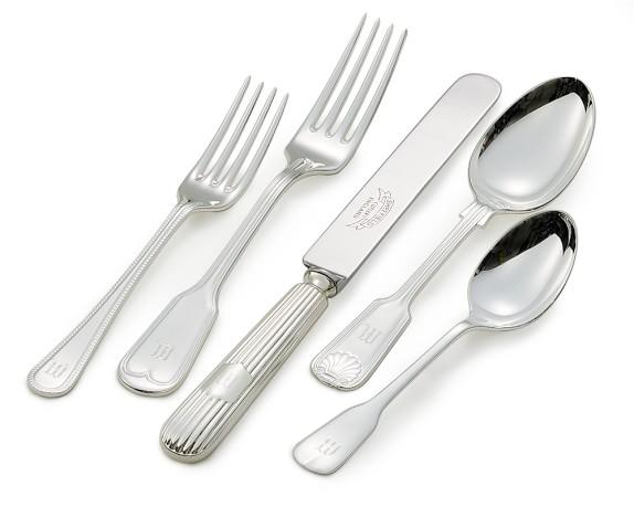 Monogrammed Hotel Silver 5-Piece Flatware Set