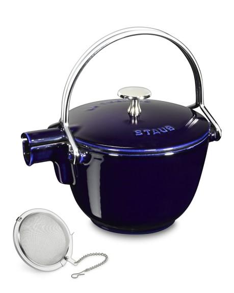 Staub Cast-Iron Round Tea Kettle, 1-Qt., Sapphire Blue