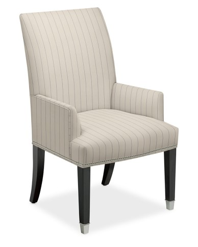 Amelia Dining Armchair, Cotton/Polyester, French Stripe, Admiral, Polished Nickel