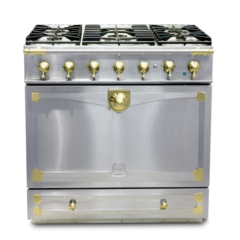 La Cornue Albertine Stainless-Steel Stove with Satin Chrome Polished Brass