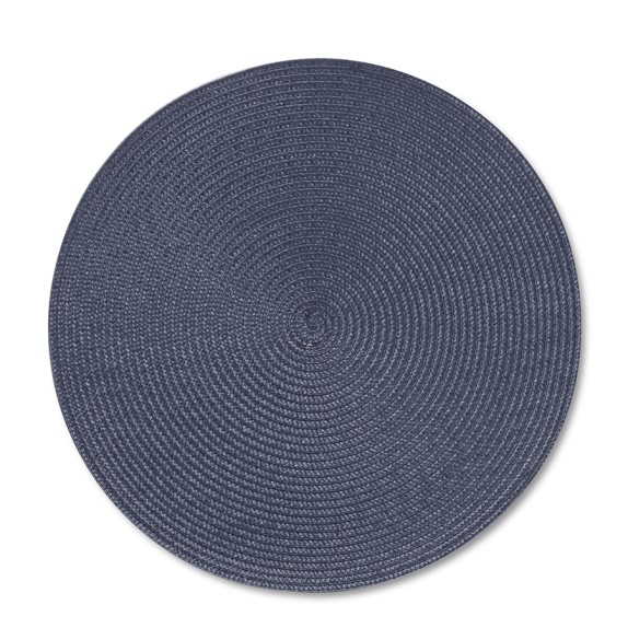Round Woven Place Mats, Set of 2, Blue
