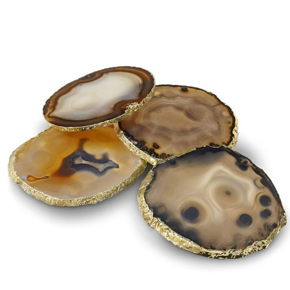 Agate Coasters with Gold Rim, Set of 4