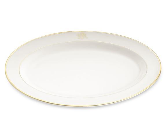 Pickard Signature Monogram Oval Platter, Gold