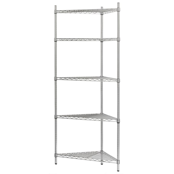 Wire 5-Shelf Corner Unit, Chrome