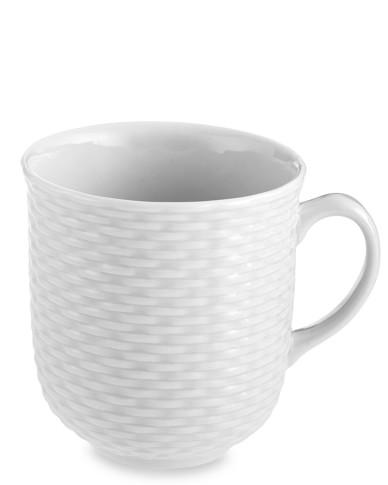Pillivuyt Basketweave Porcelain Mugs, Set of 4