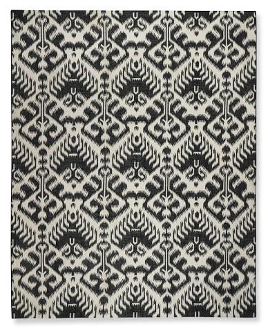 Ikat Medallion Indoor/Outdoor Rug, 8' X 10', Black/Egret