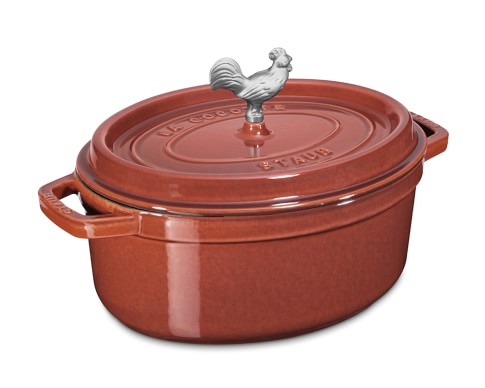 Staub Cast-Iron Oval Coq Au Vin, 4 1/4-Qt., Red