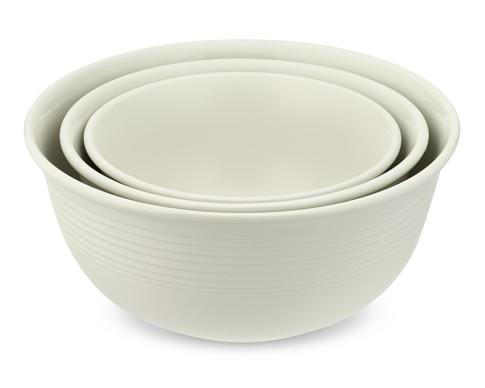 Ribbed Mixing Bowls, Set of 3, White
