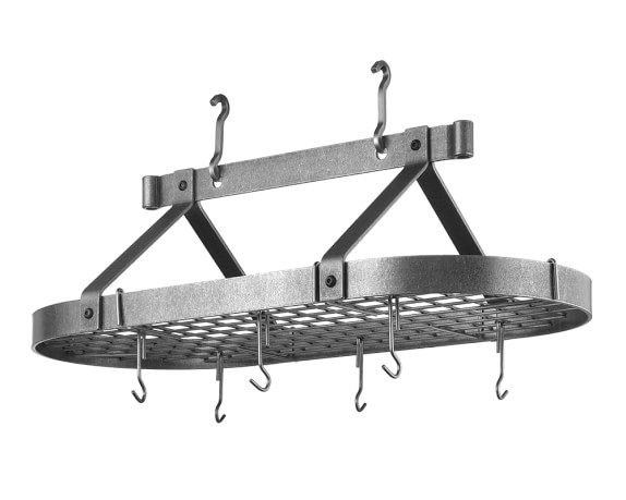 Enclume Oval Pot Rack, 3-Ft, Hammered Steel