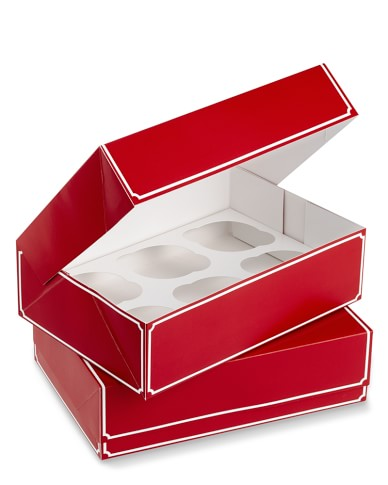 Red Cupcake Boxes, Set of 2