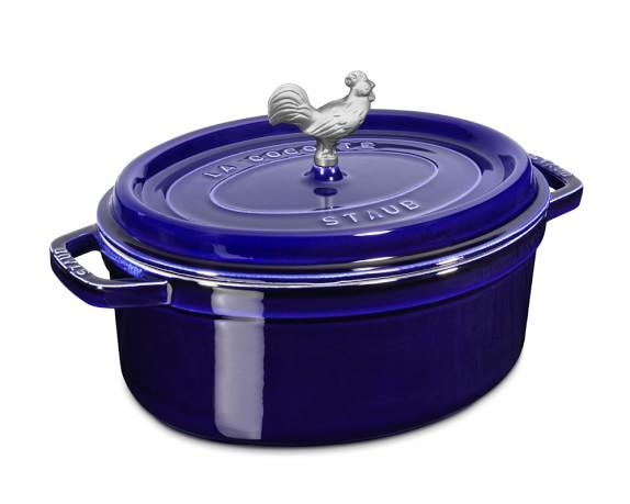 Staub Cast-Iron Oval Coq Au Vin, 4 1/4-Qt., Sapphire Blue
