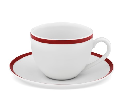 Brasserie Red-Banded Porcelain Cups & Saucers, Set of 4