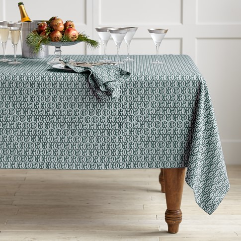 Williams-Sonoma Monogram Jacquard Tablecloth, 70