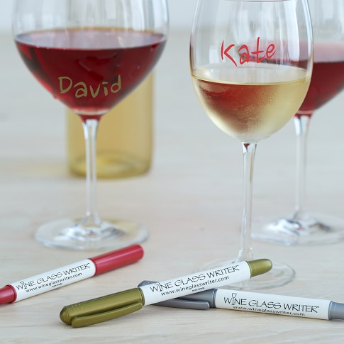 Wine Glass Metallic Markers, Set of 3, Red, Gold, Silver