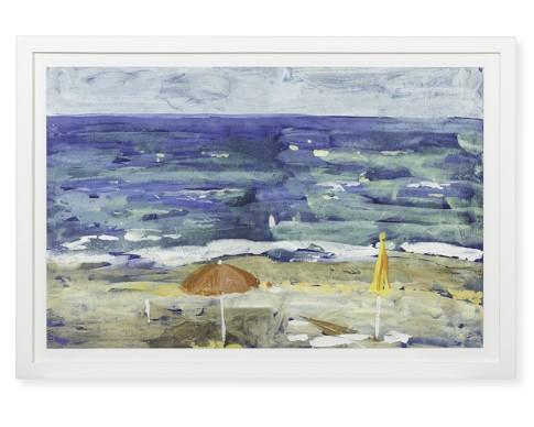 Italian Beach Day Watercolor, Umbrella