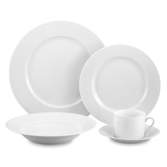 Apilco Beaded Hemstitch 5-Piece Place Setting