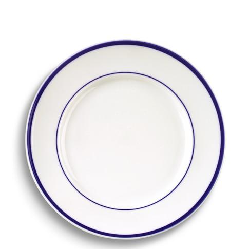 Brasserie Blue-Banded Porcelain Salad Plates, Set of 4