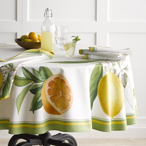 Botanical Citrus Tablecloth, 70