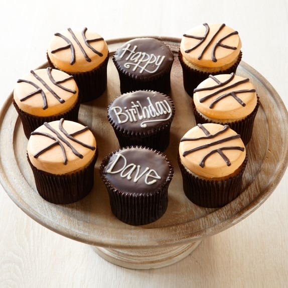 Personalized Basketball Cupcakes, Set of 9