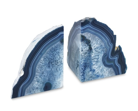 Agate Bookends, Set of 2, Blue