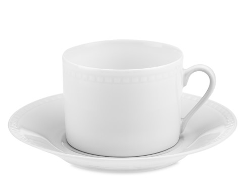 Apilco Beaded Hemstitch Porcelain Cups & Saucers, Set of 4