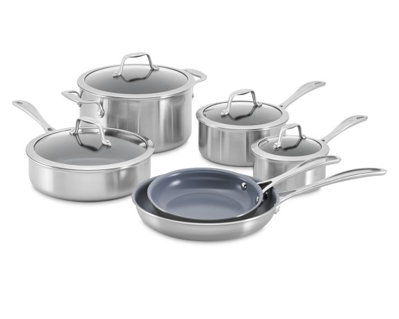 Zwilling Spirit Stainless-Steel Ceramic Nonstick 10-Piece Cookware Set