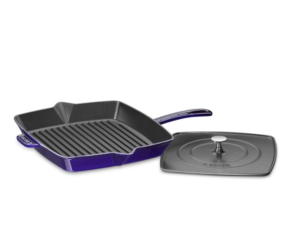 Staub Cast-Iron Grill Pan & Press, 12