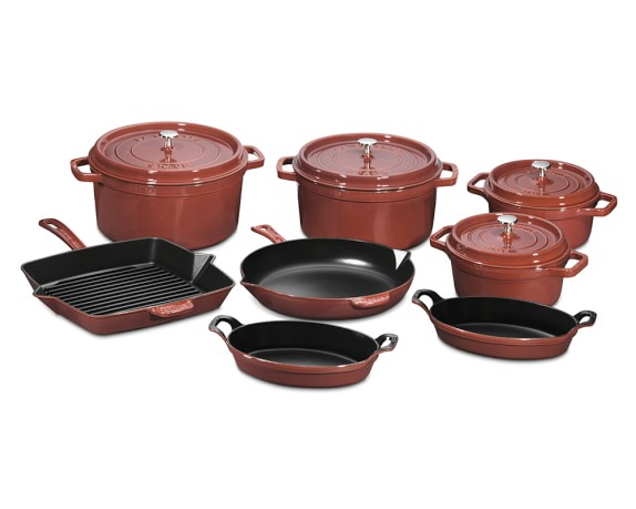 Staub Cast-Iron 12-Piece Cookware Set, Red