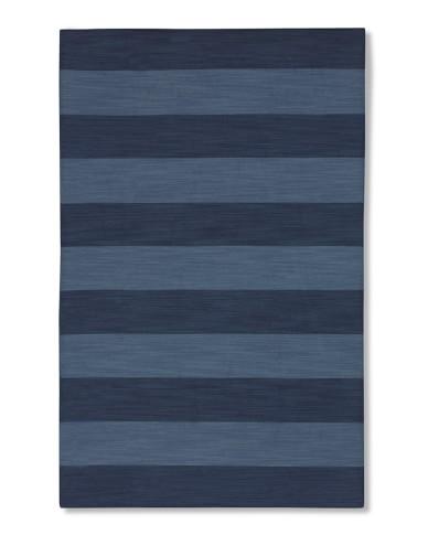 Wide Stripe Dhurrie Rug, 5' X 8', Evening Blue/Dark Blue