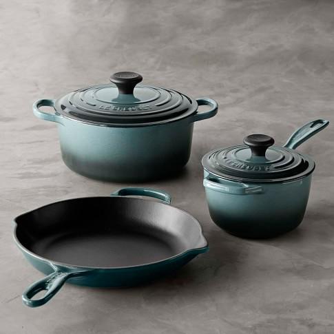 Le Creuset Signature Cast-Iron 5-Piece Cookware Set, Ocean