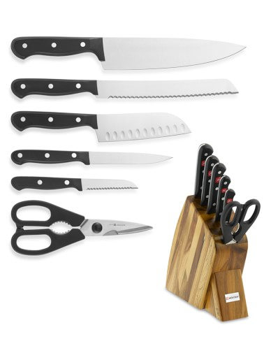 Wüsthof Gourmet Large Studio 7-Piece Knife Block Set, Acacia