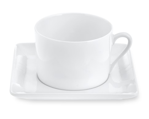Apilco Zen Porcelain Cups & Saucers, Set of 2