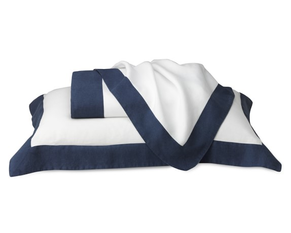 Chambers Washed-Linen Border Bedding, Duvet, Full/Queen, Navy