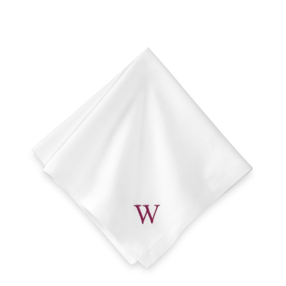 Monogrammed Hotel Cocktail Napkins, White, Set of 6
