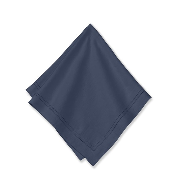 Linen Double Hemstitch Napkins, Set of 4, Navy
