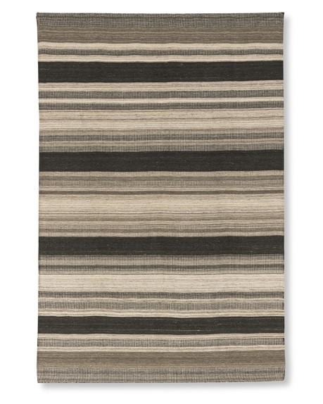 Saddle Blanket Bold Striped Dhurrie Rug, Bold Stripe, 6' X 9', Neutral