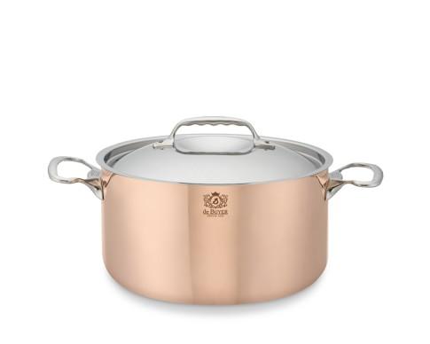 de Buyer Prima Matera Copper Stock Pot with Lid, 6 1/4-Qt.