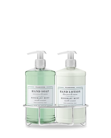Williams-Sonoma Essential Oils Hand Soap & Lotion Set with Wire Caddy, Rosemary Mint