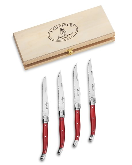 Laguiole Jean Dubost Steak Knife Set, Red