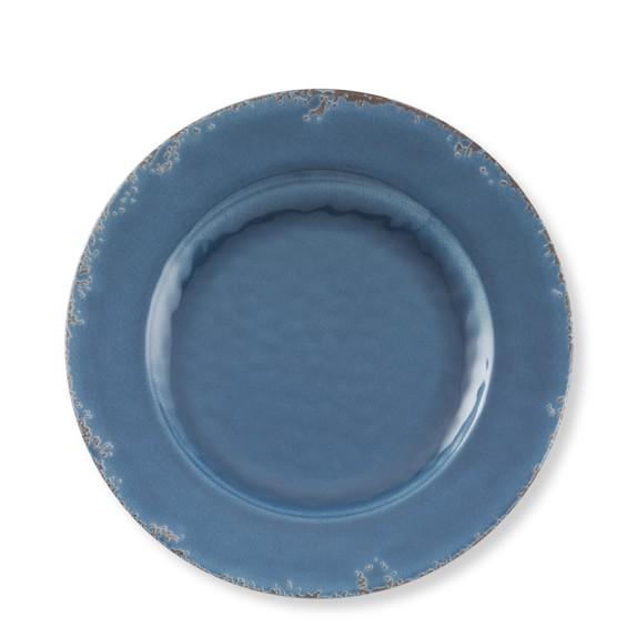 Rustic Melamine Salad Plates, Set of 4, Azure Blue