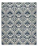 Ikat Medallion Indoor/Outdoor Rug, 8' X 10', Dress Blue/Egret