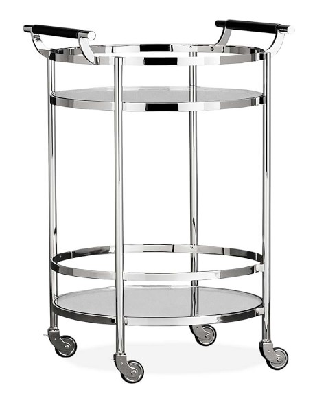 Truman Round Bar Cart, Polished Nickel, Black Leather